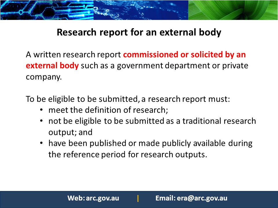 Research report for an external body