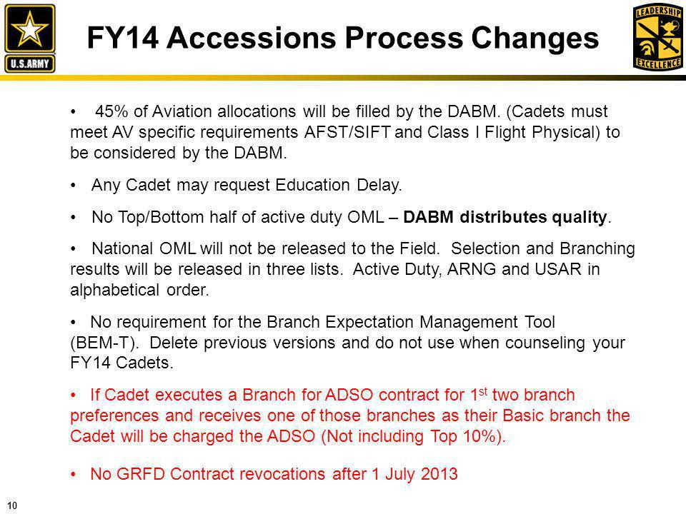 FY14 Accessions Process Changes