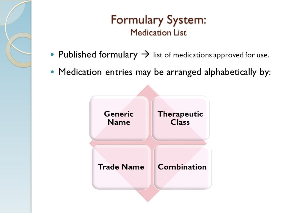Formulary System: Medication List