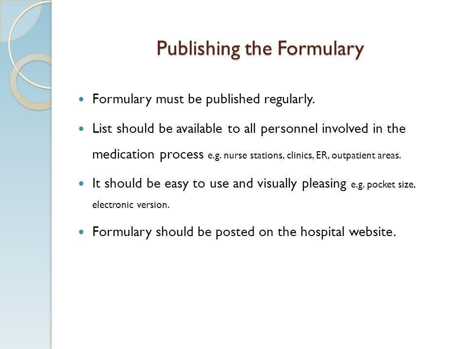 Publishing the Formulary