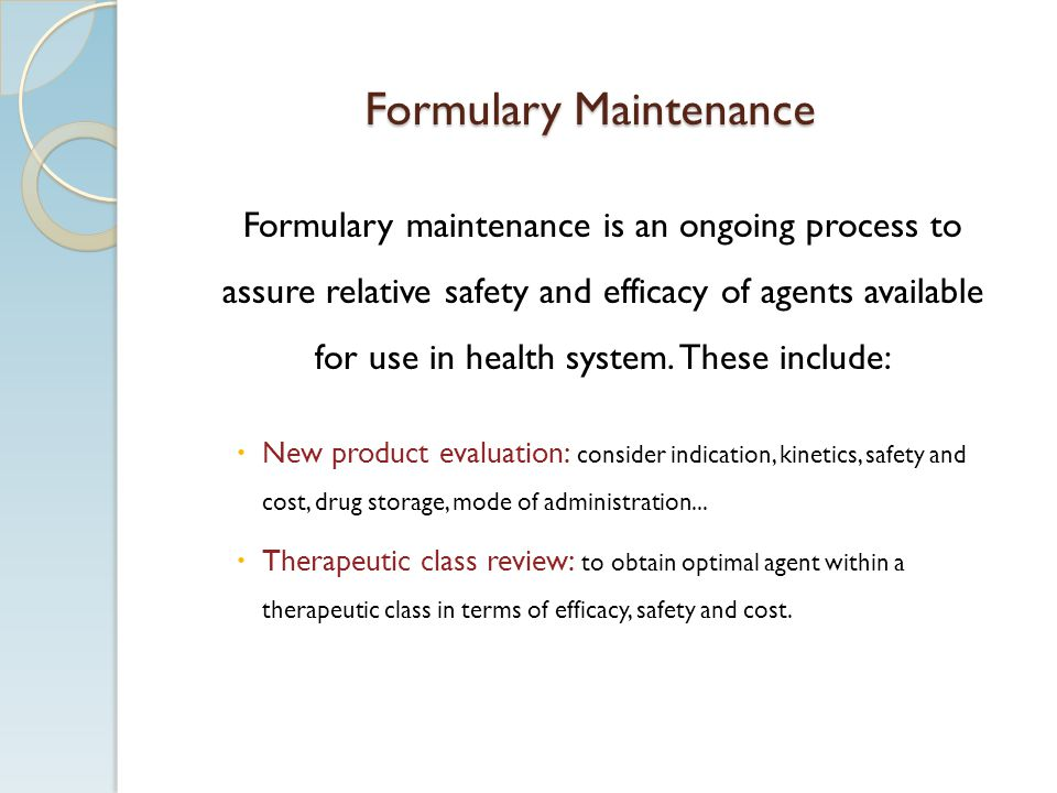 Formulary Maintenance