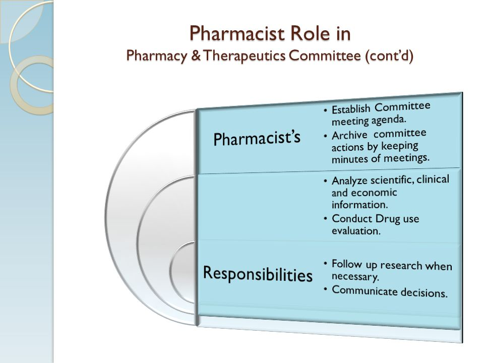 Pharmacist Role in Pharmacy & Therapeutics Committee (cont'd)