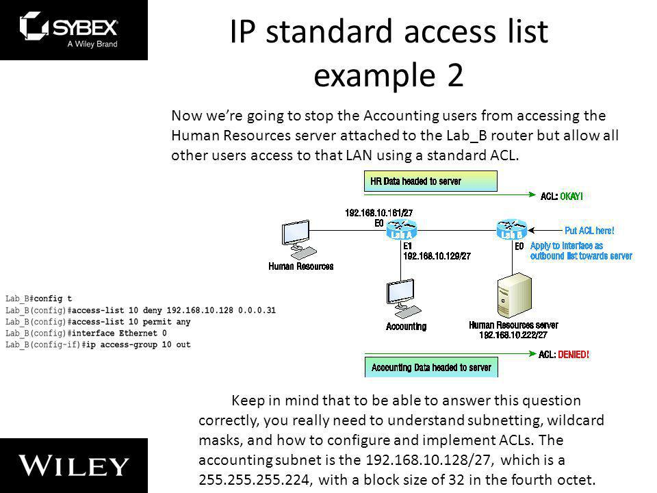 IP standard access list example 2