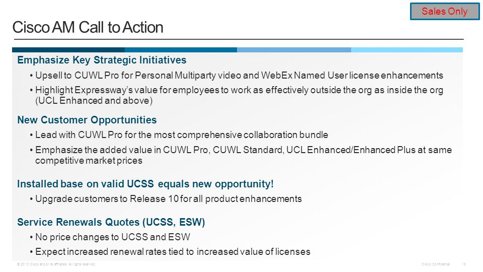 Cisco AM Call to Action Emphasize Key Strategic Initiatives