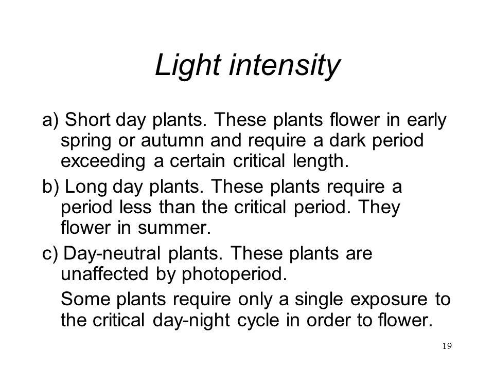 Light intensity a) Short day plants. These plants flower in early spring or autumn and require a dark period exceeding a certain critical length.