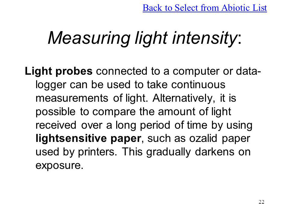 Measuring light intensity: