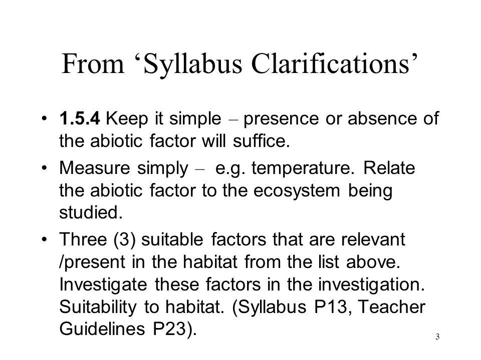 From 'Syllabus Clarifications'