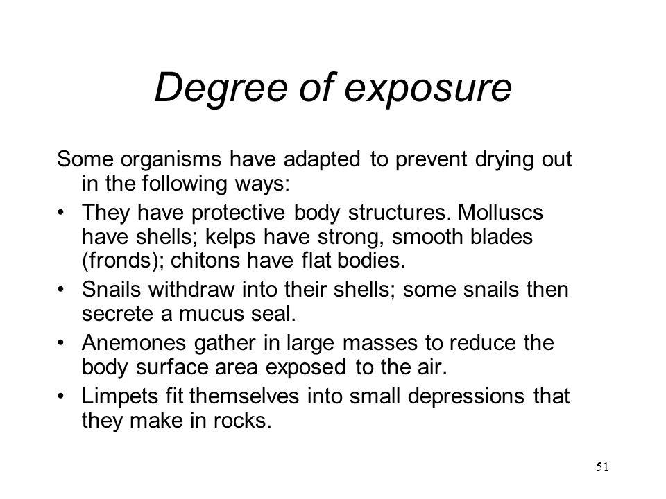 Degree of exposure Some organisms have adapted to prevent drying out in the following ways: