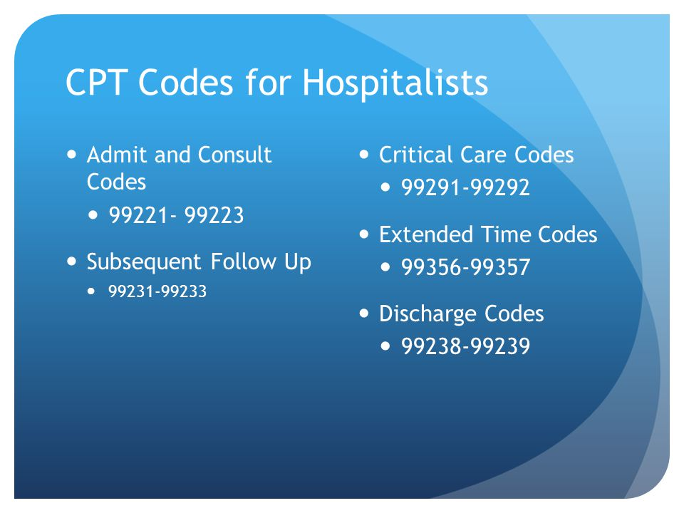 CPT Codes for Hospitalists