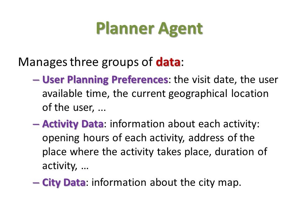 Planner Agent Manages three groups of data: