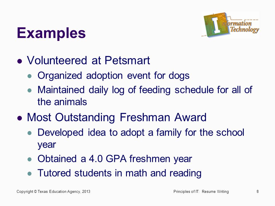 Examples Volunteered at Petsmart Most Outstanding Freshman Award