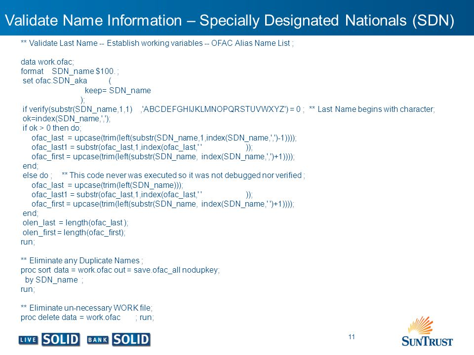 Validate Name Information – Specially Designated Nationals (SDN)
