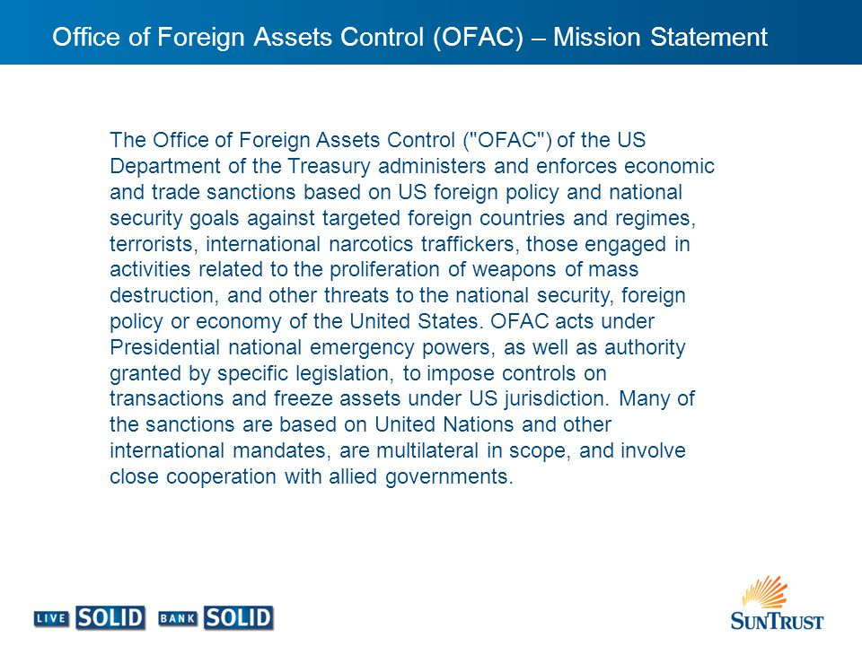 Office of Foreign Assets Control (OFAC) – Mission Statement