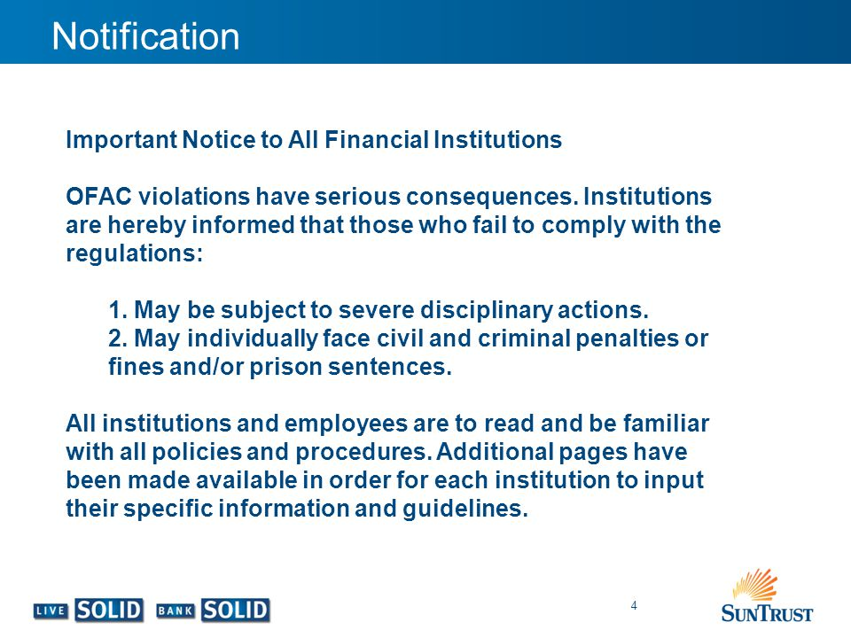 Notification Important Notice to All Financial Institutions