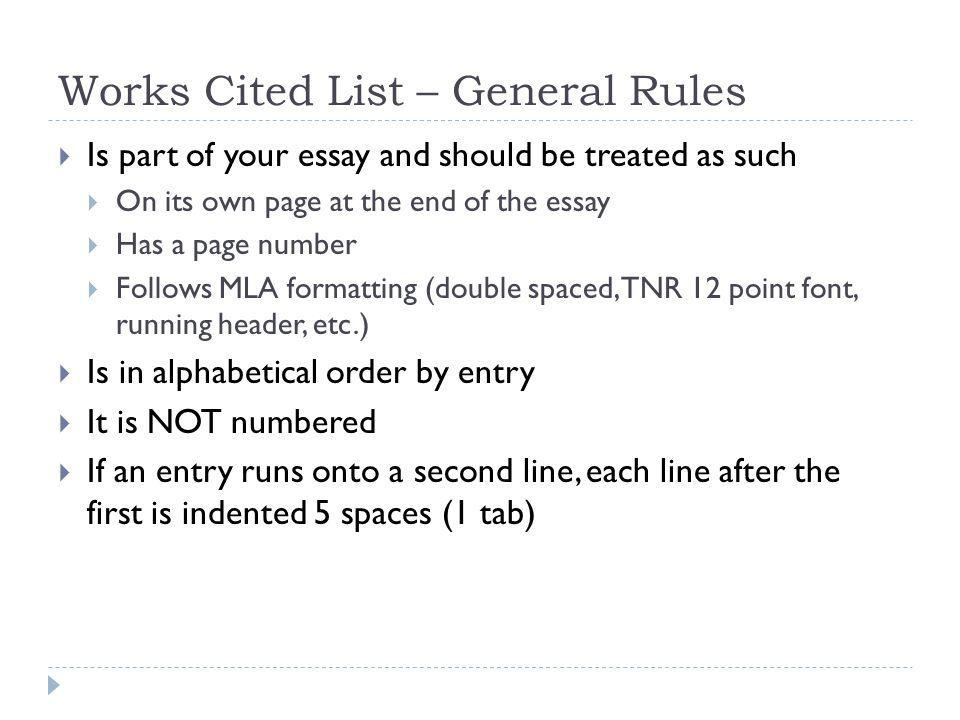 work cited list mla
