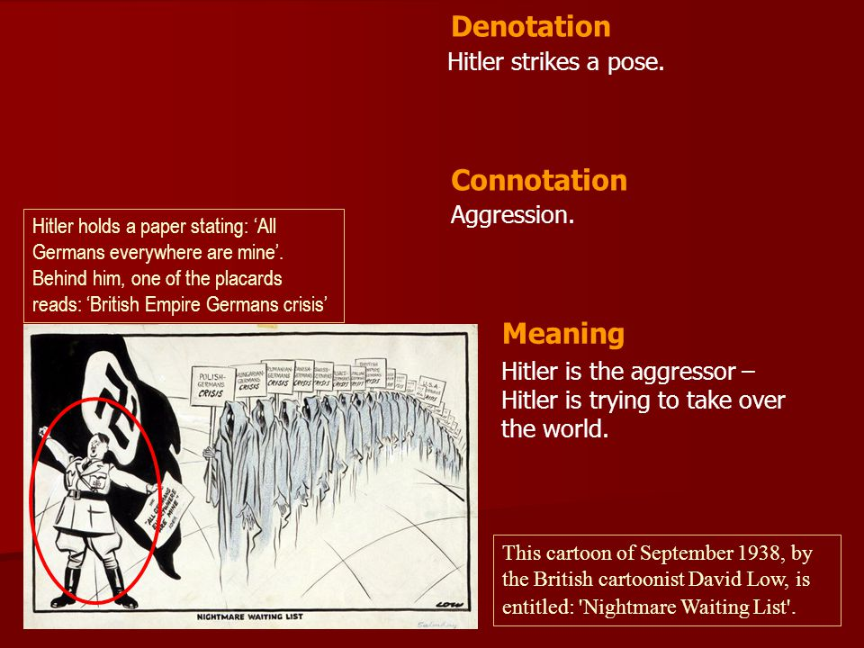 Denotation Connotation Meaning Hitler strikes a pose. Aggression.