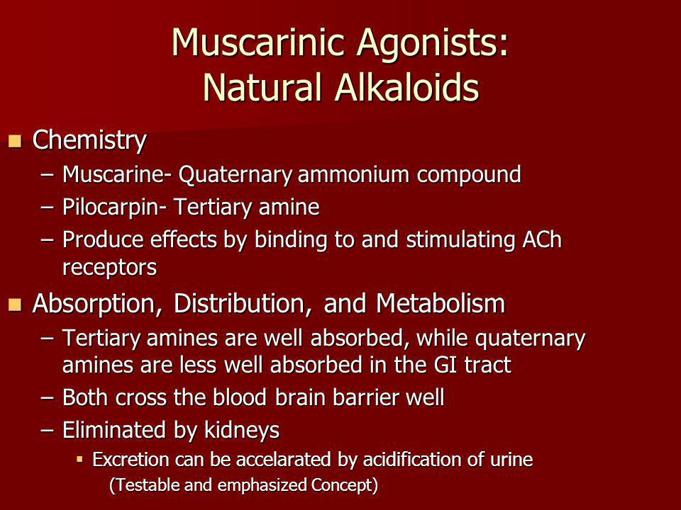 Muscarinic Agonists: Natural Alkaloids