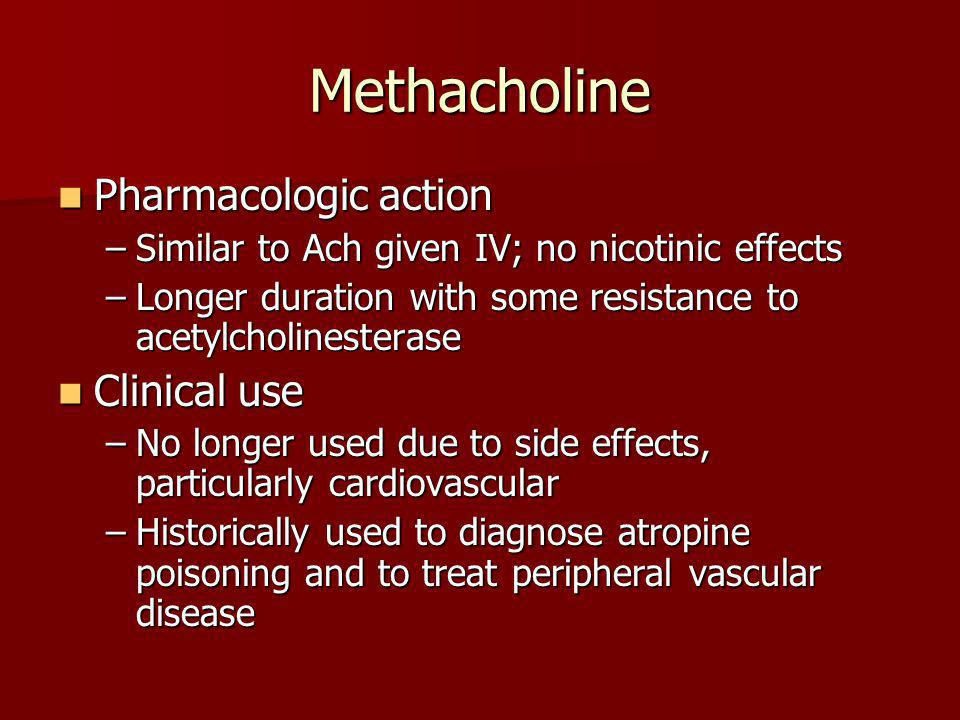 Methacholine Pharmacologic action Clinical use