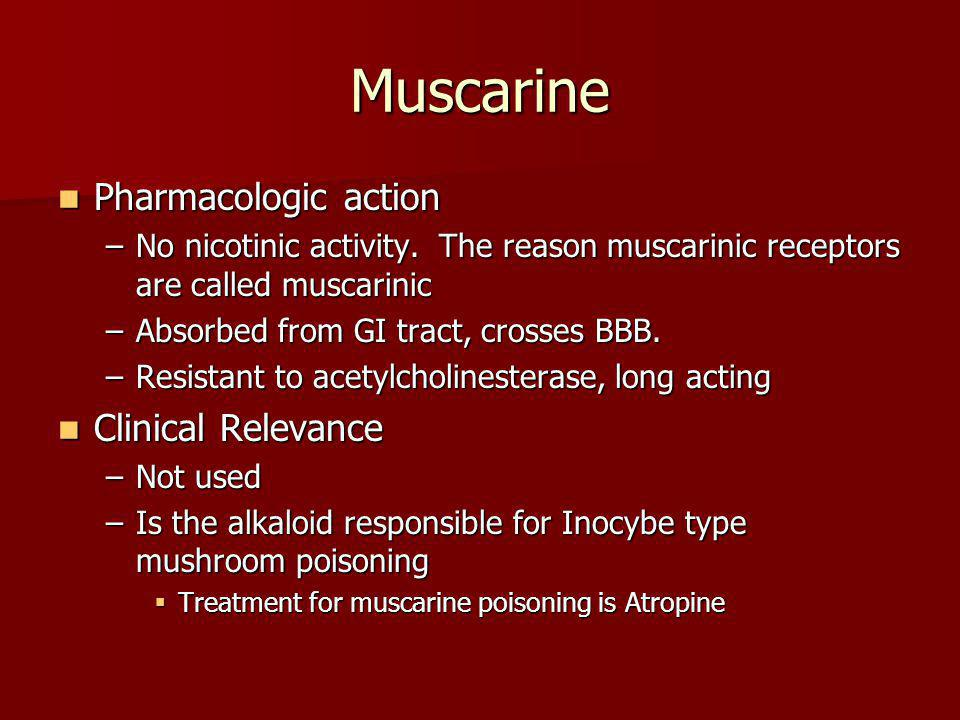 Muscarine Pharmacologic action Clinical Relevance