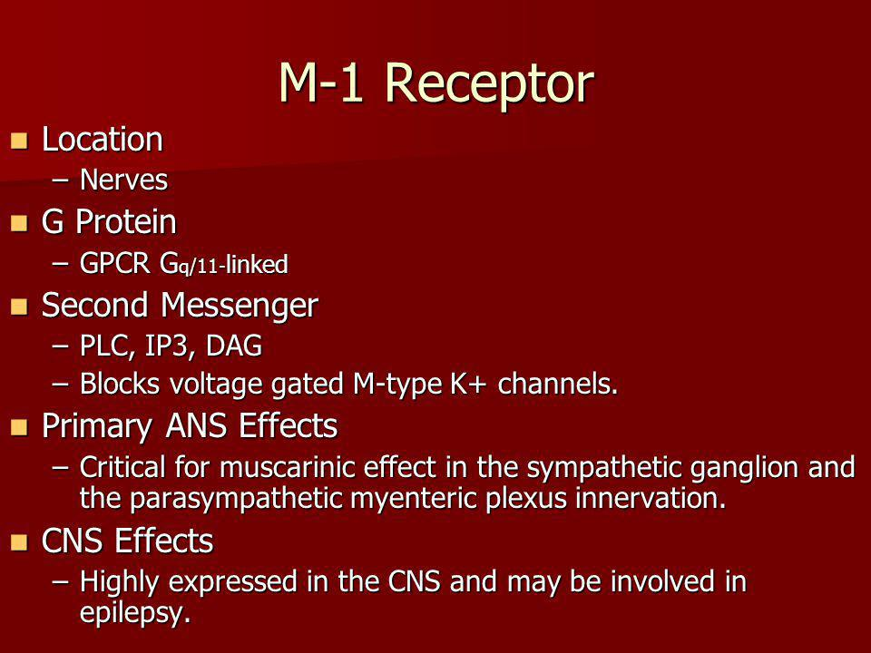 M-1 Receptor Location G Protein Second Messenger Primary ANS Effects