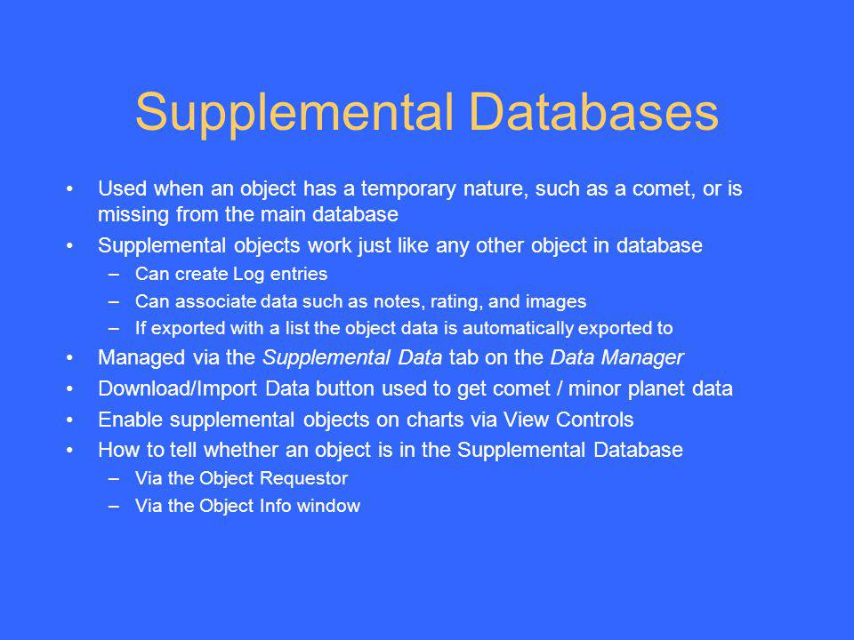 Supplemental Databases