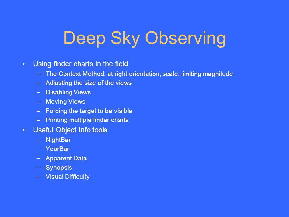 Deep Sky Observing Using finder charts in the field