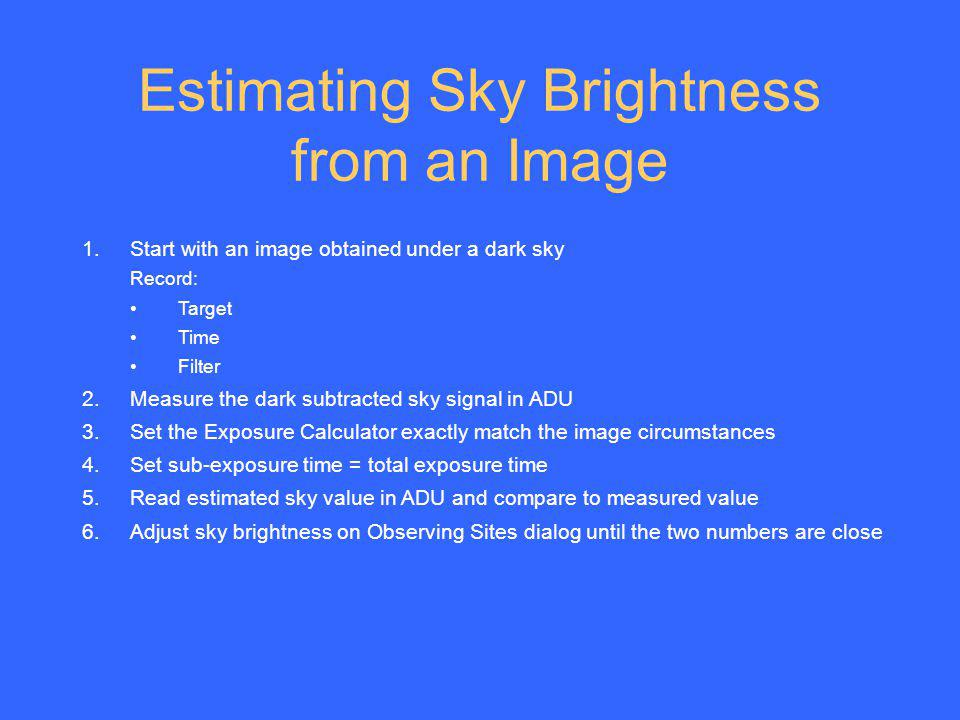 Estimating Sky Brightness from an Image
