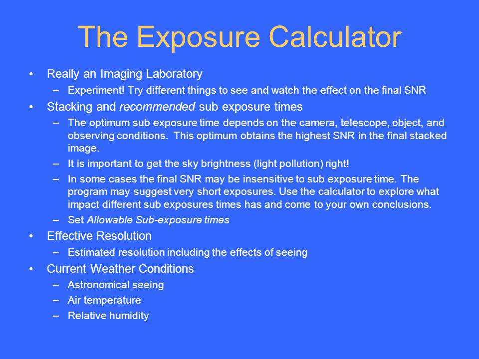 The Exposure Calculator