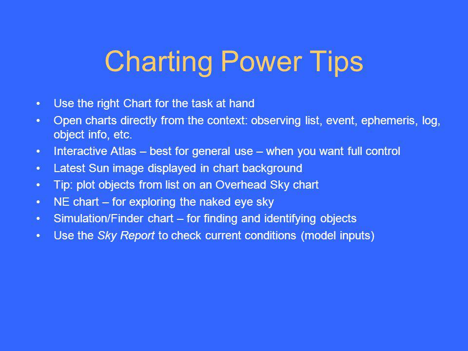 Charting Power Tips Use the right Chart for the task at hand