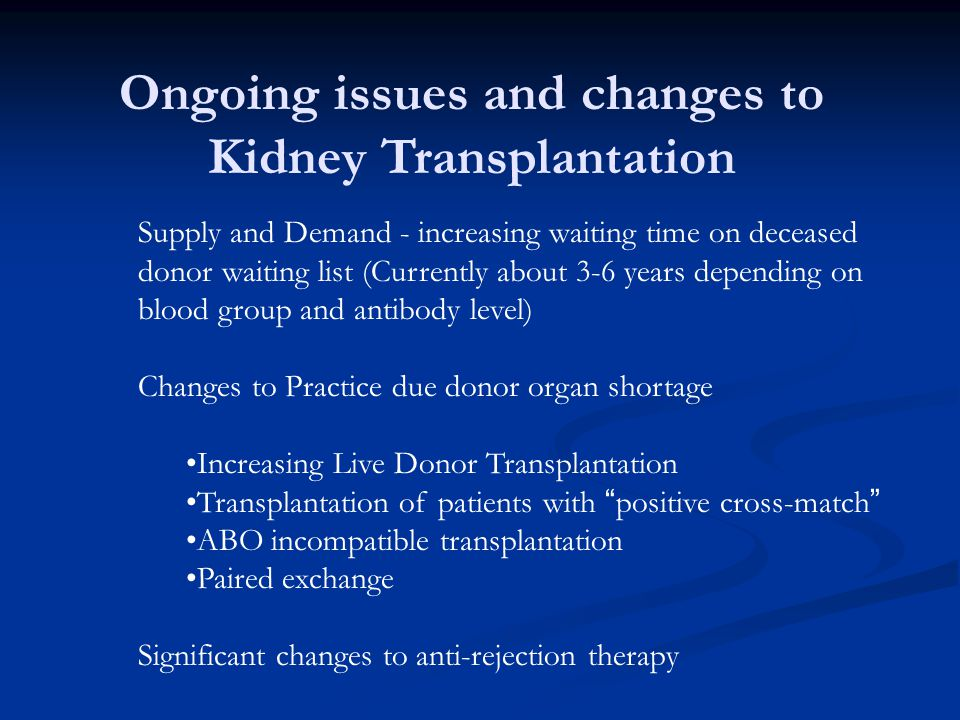 Ongoing issues and changes to Kidney Transplantation