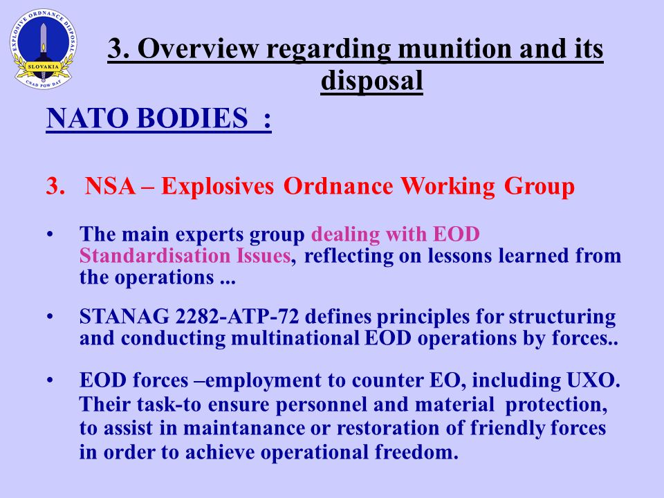 3. Overview regarding munition and its disposal