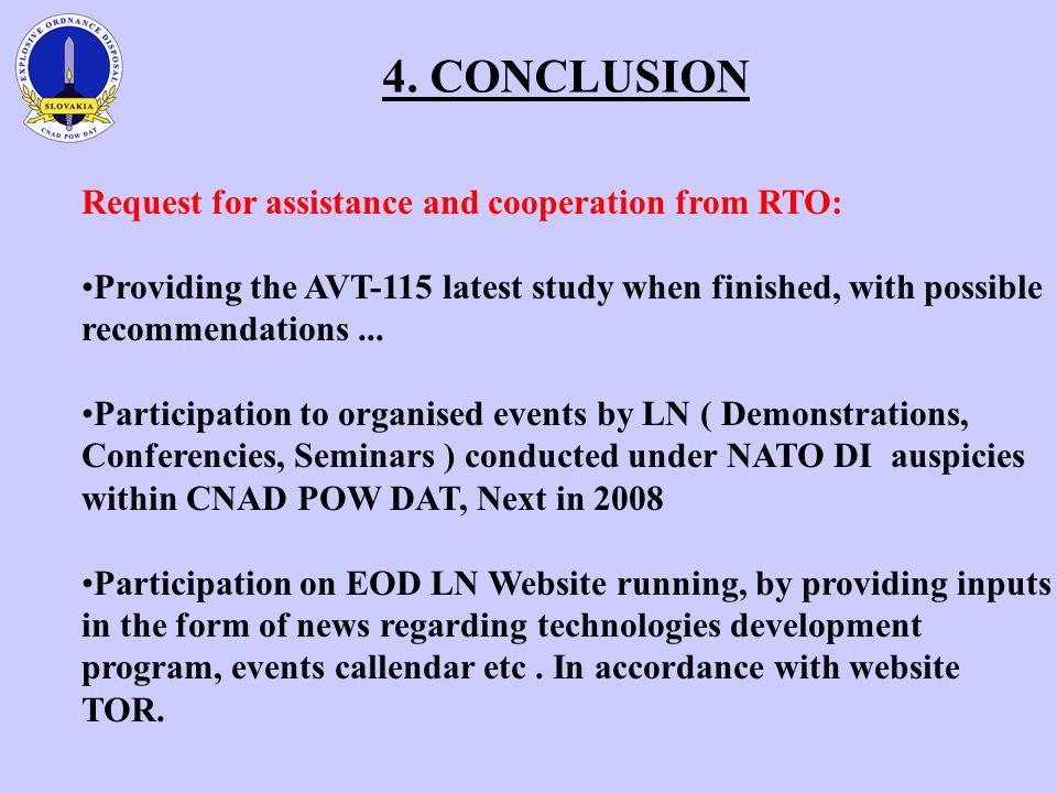 4. CONCLUSION Request for assistance and cooperation from RTO: