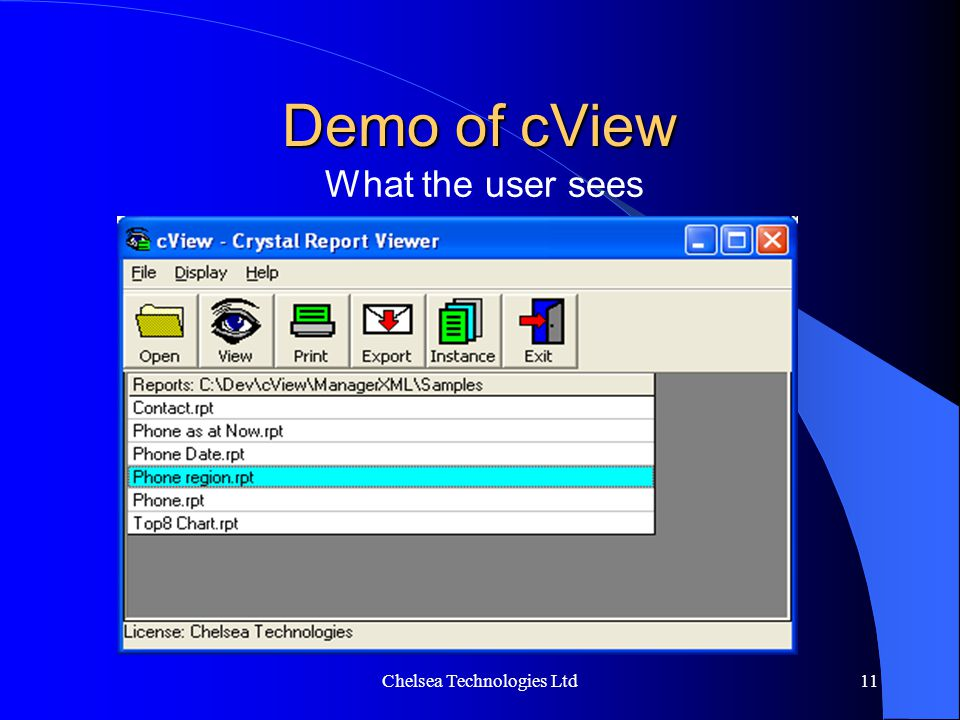 cViewSUITE View, Schedule & Distribute your Crystal Reports - ppt