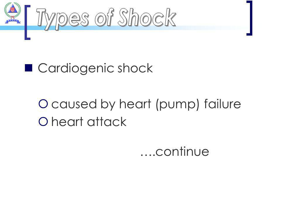 Types of Shock Cardiogenic shock caused by heart (pump) failure