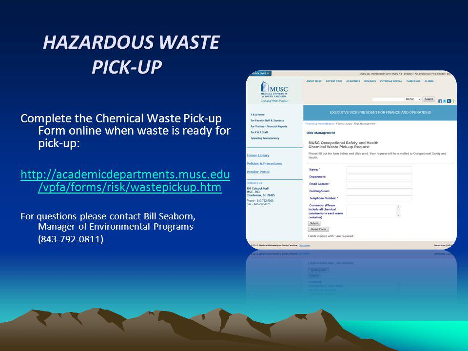 HAZARDOUS WASTE PICK-UP