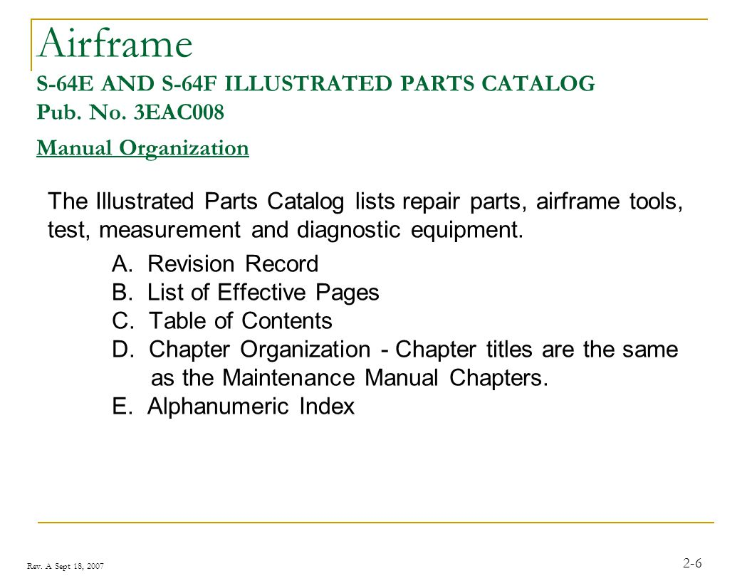Airframe S-64E AND S-64F ILLUSTRATED PARTS CATALOG Pub. No