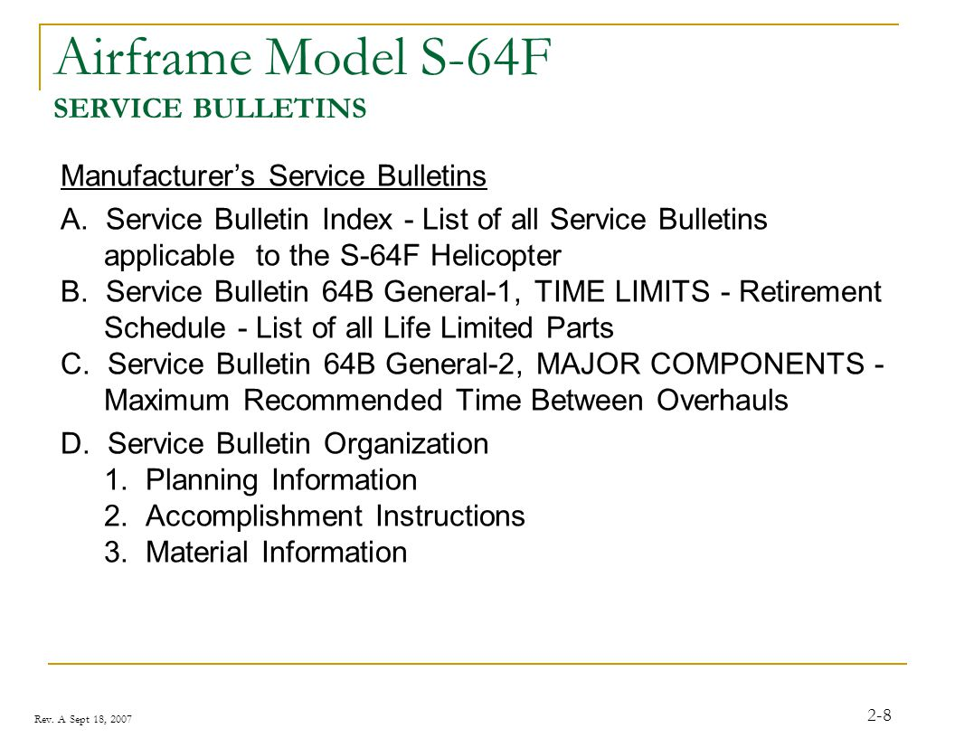 Airframe Model S-64F SERVICE BULLETINS