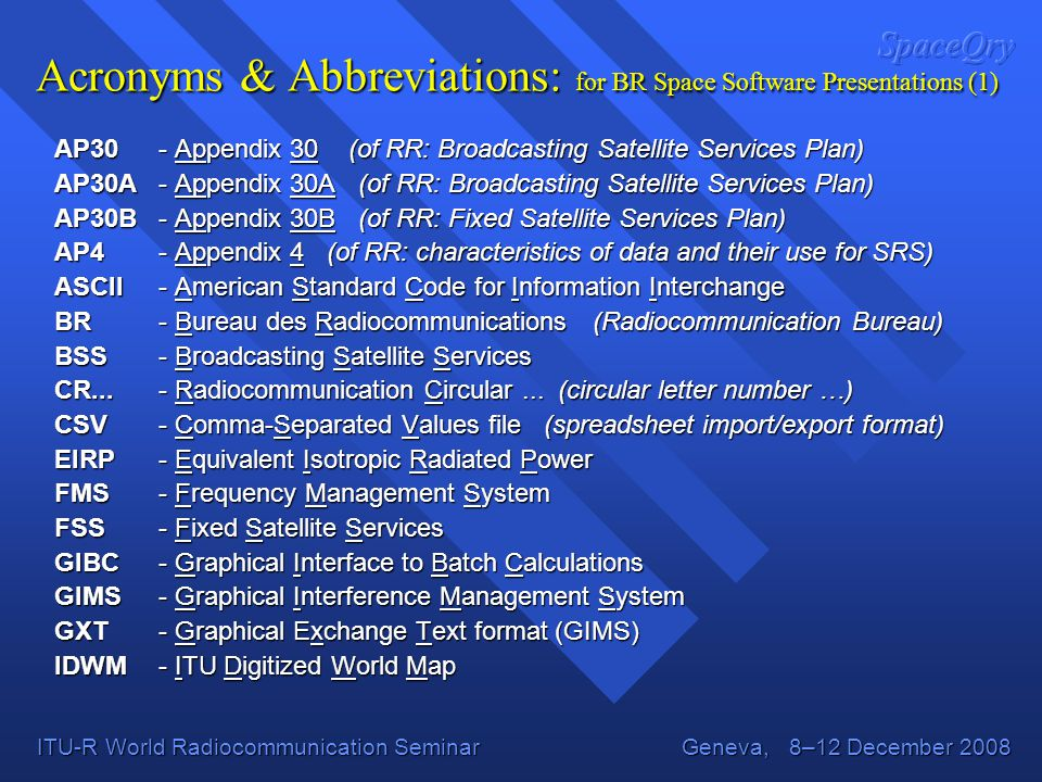 Acronyms & Abbreviations: for BR Space Software Presentations (1)