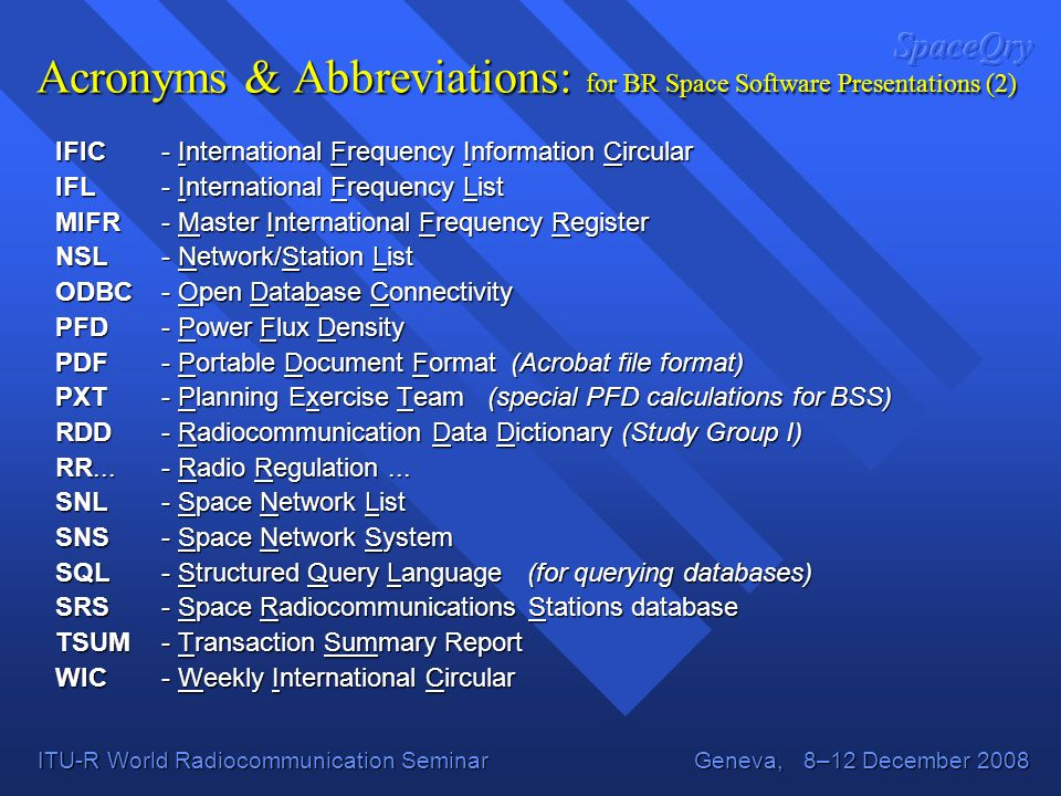 Acronyms & Abbreviations: for BR Space Software Presentations (2)