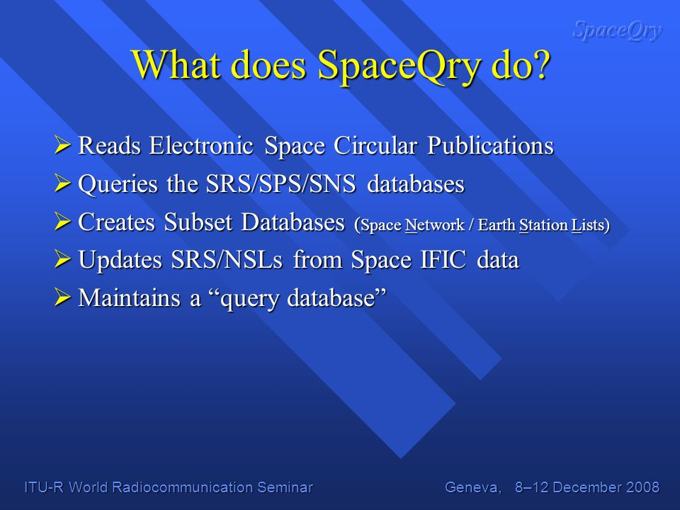 What does SpaceQry do Reads Electronic Space Circular Publications