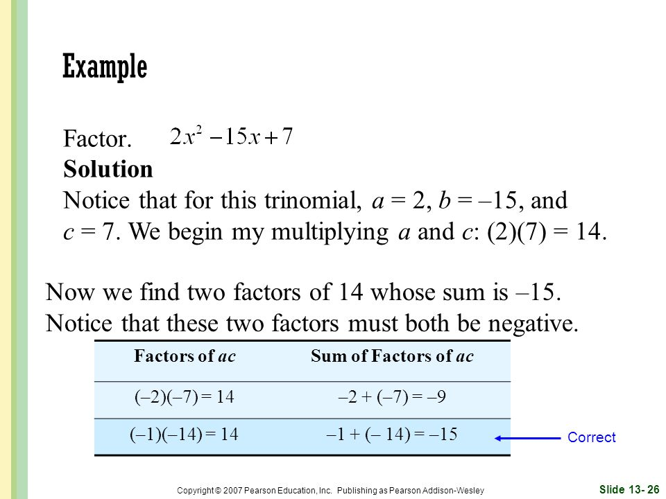 Example Factor. Solution