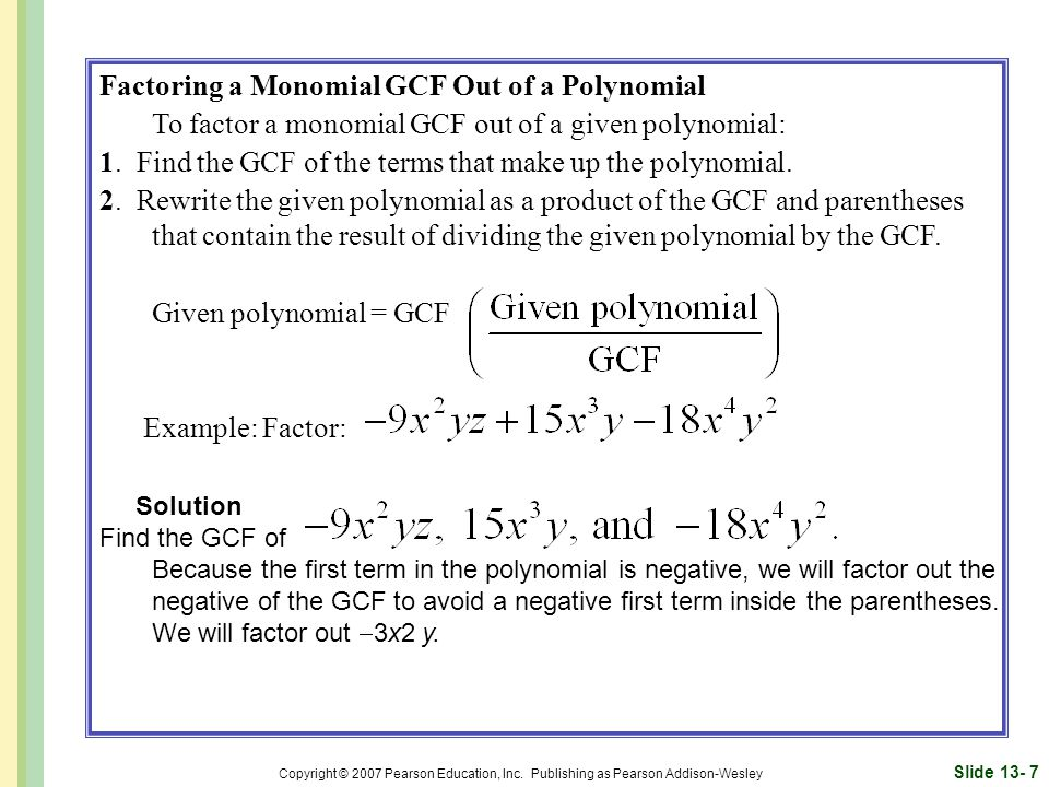 Factoring a Monomial GCF Out of a Polynomial