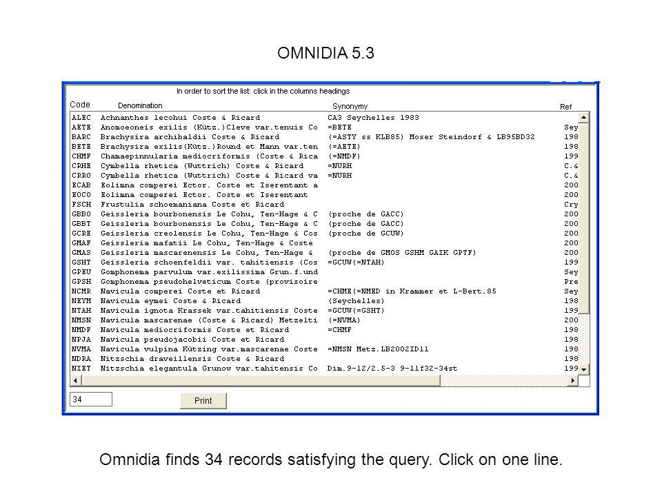 Omnidia finds 34 records satisfying the query. Click on one line.