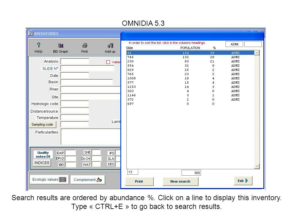 OMNIDIA 5.3 Search results are ordered by abundance %.