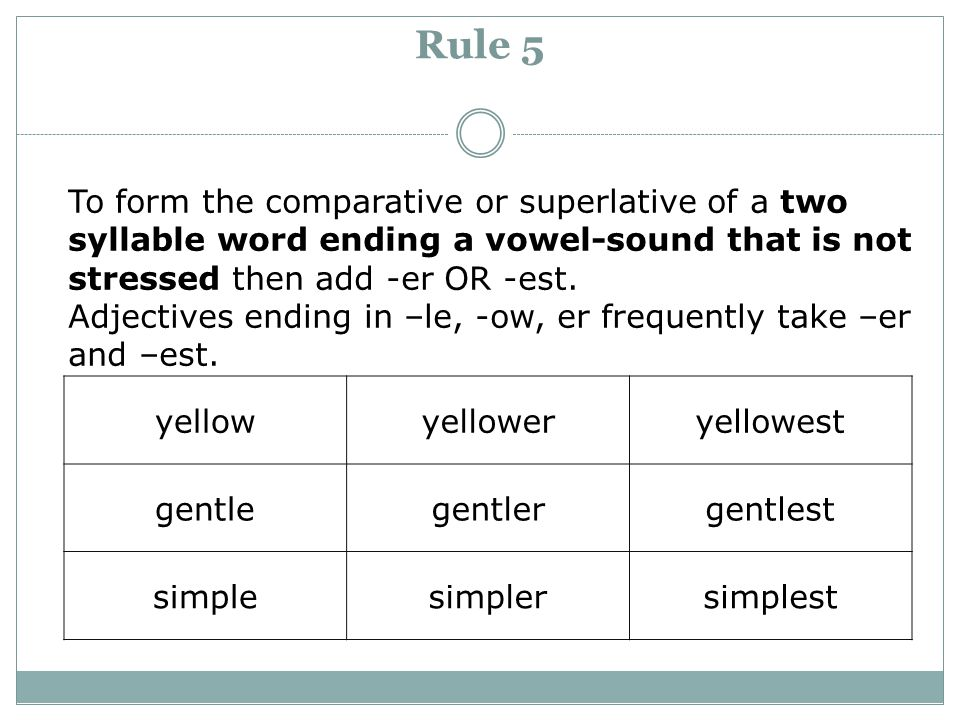 Rule 5 To form the comparative or superlative of a two syllable word ending a vowel-sound that is not stressed then add -er OR -est.