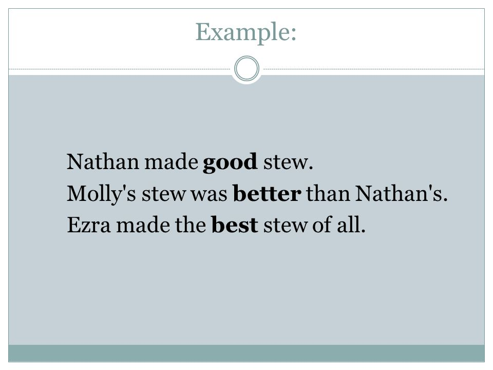 Example: Nathan made good stew. Molly s stew was better than Nathan s.