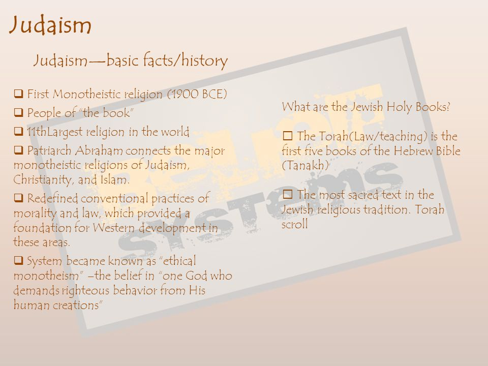 Judaism Judaism—basic facts/history
