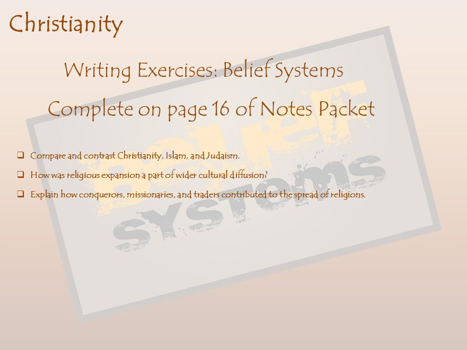 Christianity Writing Exercises: Belief Systems