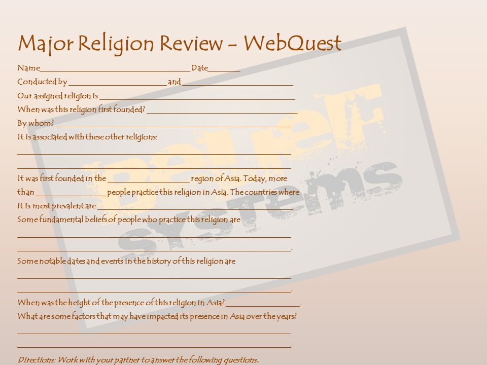 Major Religion Review - WebQuest