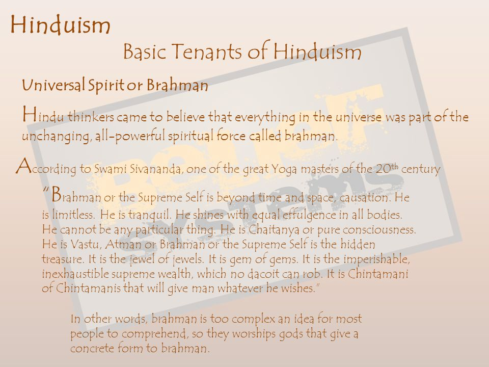 Basic Tenants of Hinduism